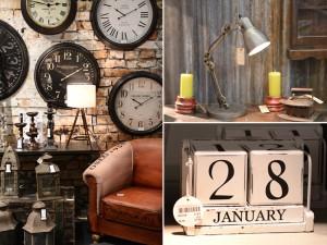 Klockor och kalender i rustik industriromantisk stil