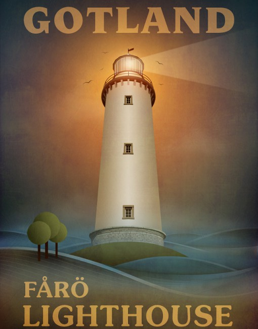 Gotland Fårö Fyr Affisch
